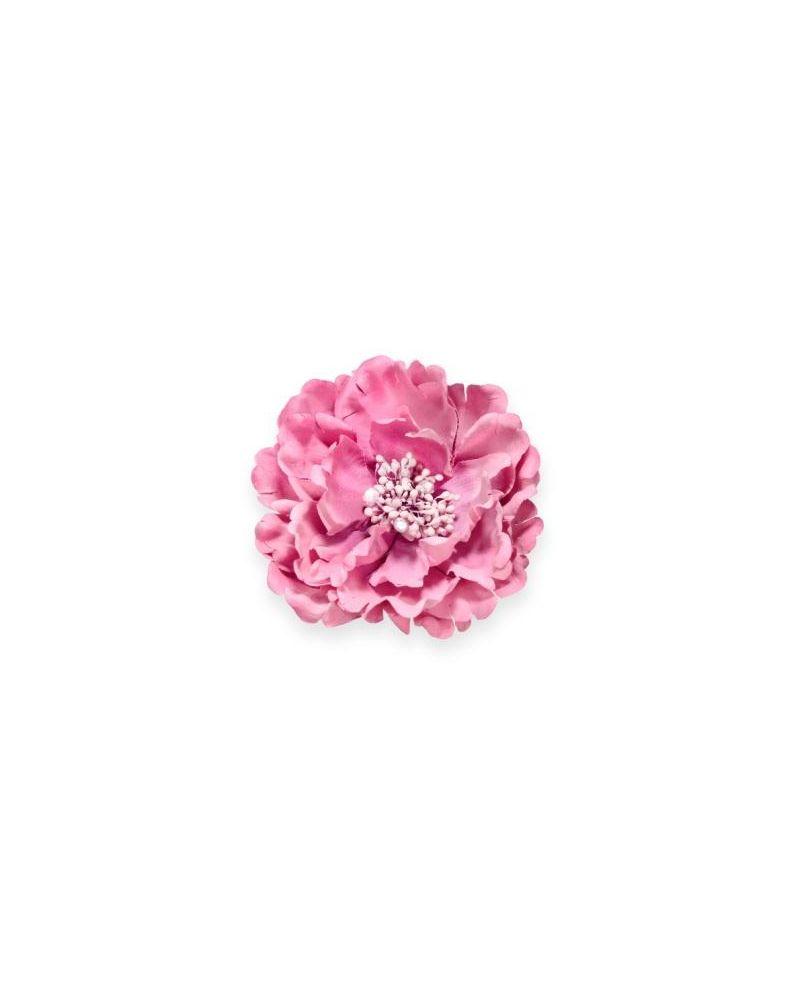 Dusky Pink Diamante Flower Clip 11cm
