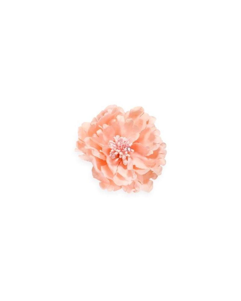 Peach Diamante Flower Clip 11cm