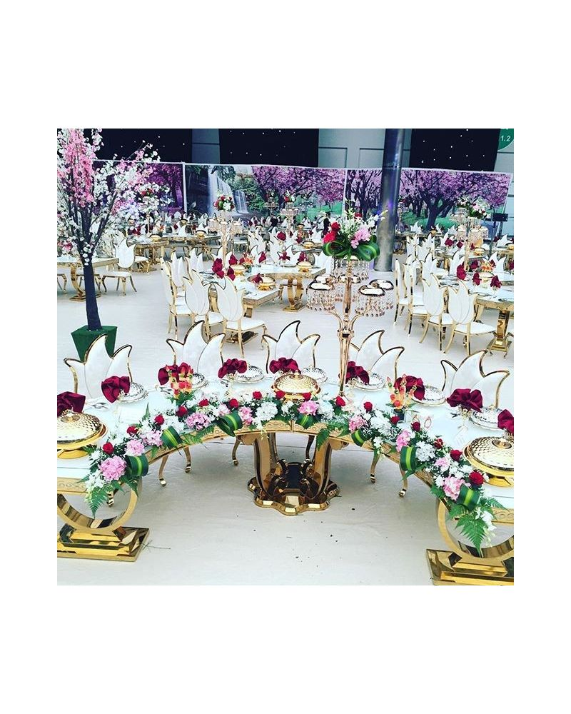 Luxury White & Gold Half Moon Table