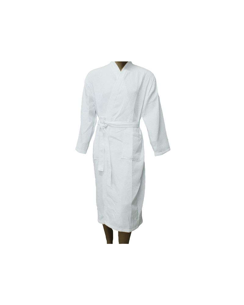White Cotton Waffle Hotel Bathrobes
