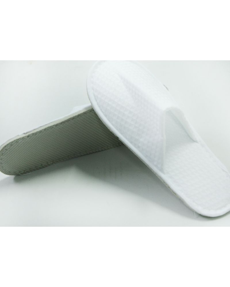 White Cotton Waffle Hotel Bath Slippers