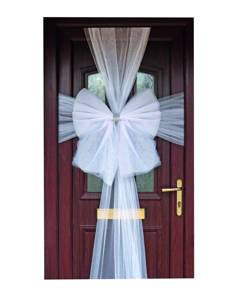White Christmas Wedding Door Bow With Diamante Centre