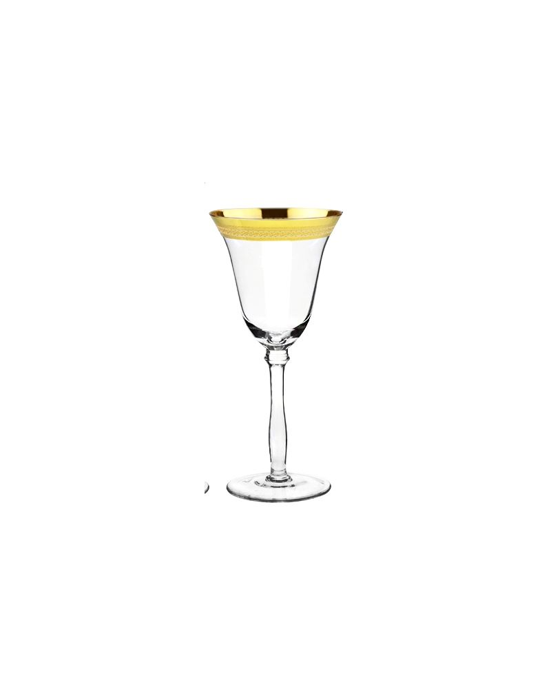 Gold Fancy Rimmed Decal White Wine Glass