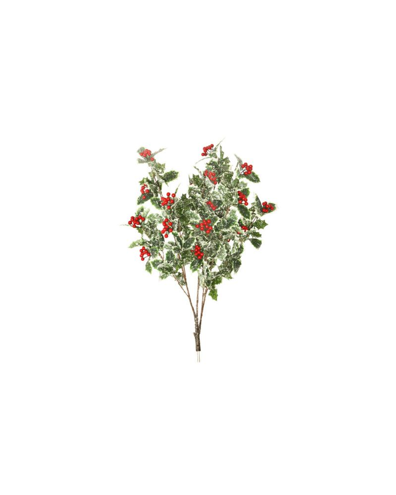 82CM FROSTED HOLLY BRANCH (COATED RED BERRY CLUSTERS)